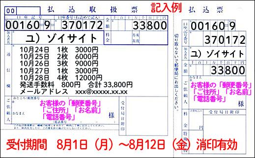 振込用紙記入例(払込取扱票)